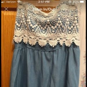 Strapless Lace/Faux Denim Dress